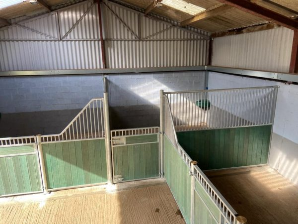 Green recycled plastic internal horse stables