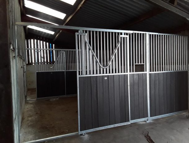 Sliding V Grill Horse Stable Door in Black Recycled Plastic