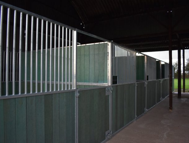 Internal Stables with Half Door Fronts in Green Recycled Plastic