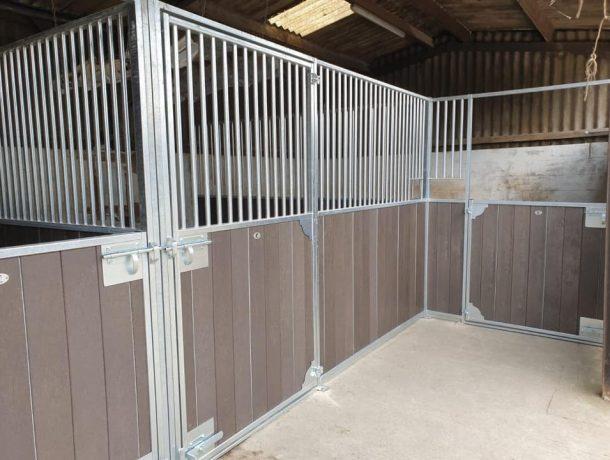 Brown Recycled Plastic Internal Stables - High Bars & Half Door